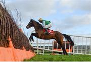 15 January 2020; Getaway Gold, with Mark McDonagh up, jump the last during the Ladbrokes Mares Maiden Hurdle at Punchestown Racecourse in Kildare. Photo by Harry Murphy/Sportsfile