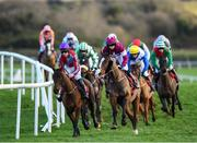 15 January 2020; Colour Me In, with Trevor Ryan up, left, and Empire Burleque, with Kevin Brogan up, leads the Ladbrokes 'Where The Nation Plays' Novice Handicap Hurdle at Punchestown Racecourse in Kildare. Photo by Harry Murphy/Sportsfile