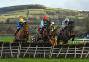 15 January 2020; Rare Conor, with Sean O'Keeffe up, centre, jumps the second last during the Ladbrokes 'Where The Nation Plays' Novice Handicap Hurdle at Punchestown Racecourse in Kildare. Photo by Harry Murphy/Sportsfile