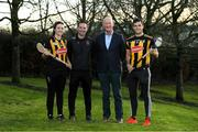 16 January 2020; From left, Kilkenny camogie player Claire Phelan, Kilkenny camogie manager Brian Dowling, Kilkenny manager Brian Cody and Kilkenny player Paddy Deegan in attendance as Glanbia Launch their 2020 Kilkenny Hurling & Camogie Sponsorship at Glanbia House in Kilkenny. Photo by Matt Browne/Sportsfile