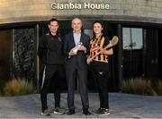 16 January 2020; Brian Phelan, CEO of Glanbia Nutritionals, with Kilkenny camogie manager Brian Dowling  and player Claire Phelan in attendance as Glanbia Launch their 2020 Kilkenny Hurling & Camogie Sponsorship at Glanbia House in Kilkenny. Photo by Matt Browne/Sportsfile