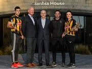 16 January 2020; Brian Phelan, CEO of Glanbia Nutritionals, with, from left, Kilkenny player Paddy Deegan, Kilkenny manager Brian Cody, camogie manager Brian Dowling and camogie player Claire Phelan in attendance as Glanbia Launch their 2020 Kilkenny Hurling & Camogie Sponsorship at Glanbia House in Kilkenny. Photo by Matt Browne/Sportsfile