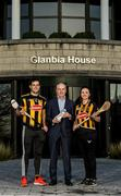 16 January 2020; Brian Phelan, CEO of Glanbia Nutritionals, with Kilkenny players Paddy Deegan and Claire Phelan in attendance as Glanbia Launch their 2020 Kilkenny Hurling & Camogie Sponsorship at Glanbia House in Kilkenny. Photo by Matt Browne/Sportsfile