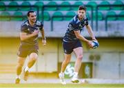 17 January 2020; Ross Byrne, right, and James Lowe during the Leinster Rugby captain's run at Stadio Comunale di Monigo in Treviso, Italy. Photo by Ramsey Cardy/Sportsfile