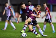 17 January 2020; Richie O'Farrell of Drogheda United in action against Conor McCormack of Derry City during the Pre-Season Friendly between Drogheda United v Derry City at United Park in Drogheda, Co. Louth. Photo by Ben McShane/Sportsfile