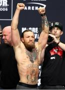 17 January 2020; Conor McGregor weighs-in ahead of his UFC 246 Welterweight bout against Donald Cerrone at the T-Mobile Arena in Las Vegas, Nevada, USA. Photo by Mark J. Rebilas / USA TODAY Sports via Sportsfile
