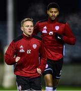 17 January 2020; Conor McCormack, 22, and Rodney Klooster of Derry City ahead of the Pre-Season Friendly between Drogheda United and Derry City at United Park in Drogheda, Co. Louth. Photo by Ben McShane/Sportsfile