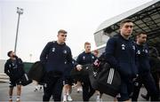 18 January 2020; Garry Ringrose, left, and Jordan Larmour of Leinster arrive ahead of the Heineken Champions Cup Pool 1 Round 6 match between Benetton and Leinster at the Stadio Comunale di Monigo in Treviso, Italy. Photo by Ramsey Cardy/Sportsfile