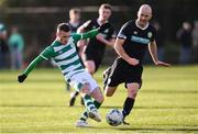18 January 2020; Jack Byrne of Shamrock Rovers in action against Paul Keegan of Bray Wanderers during the Pre-Season Friendly between Shamrock Rovers and Bray Wanderers at Roadstone Group Sports Club in Dublin. Photo by Ben McShane/Sportsfile