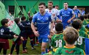18 January 2020; Leinster captain Luke McGrath leads his side out ahead of the Heineken Champions Cup Pool 1 Round 6 match between Benetton and Leinster at the Stadio Comunale di Monigo in Treviso, Italy. Photo by Ramsey Cardy/Sportsfile