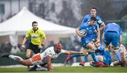 18 January 2020; Luke McGrath of Leinster is tackled by Hame Faiva of Benetton during the Heineken Champions Cup Pool 1 Round 6 match between Benetton and Leinster at the Stadio Comunale di Monigo in Treviso, Italy. Photo by Ramsey Cardy/Sportsfile