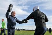 18 January 2020; Galway Goalkeeping coach Martin McNamara warms up goalkeeper  Conor Gleeson before the Connacht FBD League Final between Roscommon and Galway at Dr. Hyde Park in Roscommon. Photo by Ray Ryan/Sportsfile