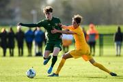 18 January 2020; Kevin Zefi of Republic of Ireland in action against Logan Mathie of Australia during the International Friendly match between Republic of Ireland U15 and Australia U17 at FAI National Training Centre in Abbotstown, Dublin. Photo by Seb Daly/Sportsfile