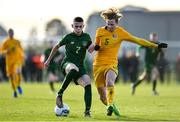 18 January 2020; Adam Murphy of Republic of Ireland in action against Matthew O'Donoghue of Australia during the International Friendly match between Republic of Ireland U15 and Australia U17 at FAI National Training Centre in Abbotstown, Dublin. Photo by Seb Daly/Sportsfile