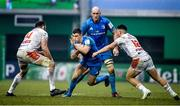 18 January 2020; Garry Ringrose of Leinster in action against Alessandro Zanni, left, and Marco Zanon of Benetton during the Heineken Champions Cup Pool 1 Round 6 match between Benetton and Leinster at the Stadio Comunale di Monigo in Treviso, Italy. Photo by Ramsey Cardy/Sportsfile