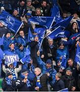 18 January 2020; Leinster supporters celebrate their second try during the Heineken Champions Cup Pool 1 Round 6 match between Benetton and Leinster at the Stadio Comunale di Monigo in Treviso, Italy. Photo by Ramsey Cardy/Sportsfile