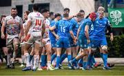 18 January 2020; James Tracy is congratulated by Leinster team-mates after scoring their second try during the Heineken Champions Cup Pool 1 Round 6 match between Benetton and Leinster at the Stadio Comunale di Monigo in Treviso, Italy. Photo by Ramsey Cardy/Sportsfile