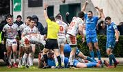 18 January 2020; Dave Kearney and Luke McGrath, right, celebrate after their Leinster team-mate Caelan Doris scored their first try during the Heineken Champions Cup Pool 1 Round 6 match between Benetton and Leinster at the Stadio Comunale di Monigo in Treviso, Italy. Photo by Ramsey Cardy/Sportsfile
