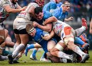 18 January 2020; James Tracy with the support of his Leinster team-mate James Ryan is tackled by Hame Faiva, left, and Eli Snyman of Benetton during the Heineken Champions Cup Pool 1 Round 6 match between Benetton and Leinster at the Stadio Comunale di Monigo in Treviso, Italy. Photo by Ramsey Cardy/Sportsfile