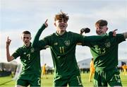 18 January 2020; Kevin Zefi of Republic of Ireland, centre, celebrates with team-mates Adam Murphy, left, and Alex Nolan, after scoring his side's first goal during the International Friendly match between Republic of Ireland U15 and Australia U17 at FAI National Training Centre in Abbotstown, Dublin. Photo by Seb Daly/Sportsfile