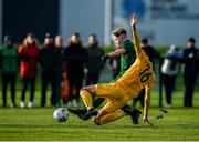 18 January 2020; Alex Nolan of Republic of Ireland shoots to score his side's second goal, despite the attempts of Lucas Inglese of Australia, during the International Friendly match between Republic of Ireland U15 and Australia U16 at FAI National Training Centre in Abbotstown, Dublin. Photo by Seb Daly/Sportsfile