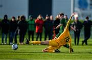 18 January 2020; Alex Nolan of Republic of Ireland shoots to score his side's second goal, despite the attempts of Lucas Inglese of Australia, during the International Friendly match between Republic of Ireland U15 and Australia U17 at FAI National Training Centre in Abbotstown, Dublin. Photo by Seb Daly/Sportsfile