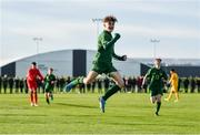 18 January 2020; Kevin Zefi of Republic of Ireland celebrates after scoring his side's first goal during the International Friendly match between Republic of Ireland U15 and Australia U17 at FAI National Training Centre in Abbotstown, Dublin. Photo by Seb Daly/Sportsfile