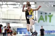 18 January 2020; Louisa Gilmore of Kilkenny City Harriers A.C., Co. Kilkenny, competing in the Long Jump in the U15 Women's combined events during the Irish Life Health Indoor Combined Events All Ages at Athlone International Arena, AIT in Athlone, Co. Westmeath. Photo by Sam Barnes/Sportsfile