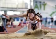18 January 2020; Georgia Hogan of Greystones & District A.C., Co. Wicklow, competing in the Long Jump in the U15 Women's combined events during the Irish Life Health Indoor Combined Events All Ages at Athlone International Arena, AIT in Athlone, Co. Westmeath. Photo by Sam Barnes/Sportsfile