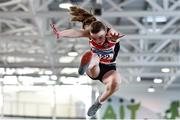 18 January 2020; Ashleigh Mcardle of Lifford Strabane A.C., Co. Donegal, competing in the Long Jump in the U15 Women's combined events during the Irish Life Health Indoor Combined Events All Ages at Athlone International Arena, AIT in Athlone, Co. Westmeath. Photo by Sam Barnes/Sportsfile