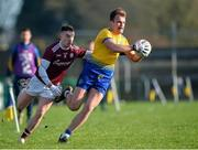 18 January 2020; Enda Smith of Roscommon in action against Eamon Brannigan of Galway during the Connacht FBD League Final between Roscommon and Galway at Dr. Hyde Park in Roscommon. Photo by Ray Ryan/Sportsfile