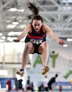 18 January 2020; Amy Jo Kierans of Oriel A.C., competing in the Long Jump in the U15 Women's combined events during the Irish Life Health Indoor Combined Events All Ages at Athlone International Arena, AIT in Athlone, Co. Westmeath. Photo by Sam Barnes/Sportsfile