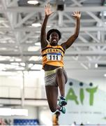 18 January 2020; Fatimo Amusa of Leevale A.C., Co. Cork, competing in the Long Jump in the U15 Women's combined events  during the Irish Life Health Indoor Combined Events All Ages at Athlone International Arena, AIT in Athlone, Co. Westmeath. Photo by Sam Barnes/Sportsfile