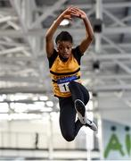 18 January 2020; Okwu Backari of Leevale A.C., Co. Cork,  competing in the Long Jump in the U15 Women's combined events  during the Irish Life Health Indoor Combined Events All Ages at Athlone International Arena, AIT in Athlone, Co. Westmeath. Photo by Sam Barnes/Sportsfile