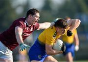 18 January 2020; Ronan Daly of Roscommon in action against Tom Flynn of Galway during the Connacht FBD League Final between Roscommon and Galway at Dr. Hyde Park in Roscommon. Photo by Ray Ryan/Sportsfile