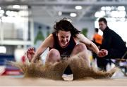 18 January 2020; Amy Jo Kierans of Oriel A.C. competing in the Long Jump in the U15 Women's combined events  during the Irish Life Health Indoor Combined Events All Ages at Athlone International Arena, AIT in Athlone, Co. Westmeath. Photo by Sam Barnes/Sportsfile