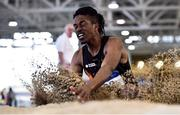 18 January 2020; Rolus Olusa of Clonliffe Harriers A.C., Co. Dublin, competing in the Long Jump in the Senior Men's combined events during the Irish Life Health Indoor Combined Events All Ages at Athlone International Arena, AIT in Athlone, Co. Westmeath. Photo by Sam Barnes/Sportsfile