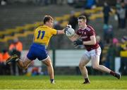 18 January 2020; Cein D'arcy of Galway in action against Enda Smith of Roscommon during the Connacht FBD League Final between Roscommon and Galway at Dr. Hyde Park in Roscommon. Photo by Ray Ryan/Sportsfile