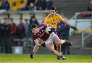 18 January 2020; Sean Mulkerrin of Galway in action against Ciaran Lennon of Roscommon during the Connacht FBD League Final between Roscommon and Galway at Dr. Hyde Park in Roscommon. Photo by Ray Ryan/Sportsfile