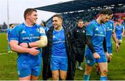 18 January 2020; Tadhg Furlong, left, and Jordan Larmour of Leinster following the Heineken Champions Cup Pool 1 Round 6 match between Benetton and Leinster at the Stadio Comunale di Monigo in Treviso, Italy. Photo by Ramsey Cardy/Sportsfile