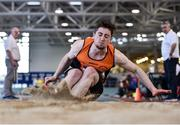 18 January 2020; Darragh Miniter of Nenagh Olympic A.C., Co. Tipperary, competing in the Long Jump in the Senior Men's combined events during the Irish Life Health Indoor Combined Events All Ages at Athlone International Arena, AIT in Athlone, Co. Westmeath. Photo by Sam Barnes/Sportsfile