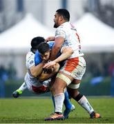 18 January 2020; Garry Ringrose of Leinster is tackled by Tito Tebaldi, left, and Toa Halafihi of Benetton during the Heineken Champions Cup Pool 1 Round 6 match between Benetton and Leinster at the Stadio Comunale di Monigo in Treviso, Italy. Photo by Ramsey Cardy/Sportsfile