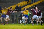 18 January 2020; Finbar Cregg of Roscommon in action against Sean Kelly and Sean Mulkerrin of Galway during the Connacht FBD League Final between Roscommon and Galway at Dr. Hyde Park in Roscommon. Photo by Ray Ryan/Sportsfile