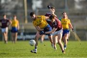 18 January 2020; Shane Killoran of Roscommon in action against John Daly of Galway during the Connacht FBD League Final between Roscommon and Galway at Dr. Hyde Park in Roscommon. Photo by Ray Ryan/Sportsfile