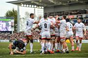 18 January 2020; Marcell Coetzee of Ulster is congratulated by his team-mates after scoring his side's first try during the Heineken Champions Cup Pool 3 Round 6 match between Ulster and Bath at Kingspan Stadium in Belfast. Photo by Oliver McVeigh/Sportsfile