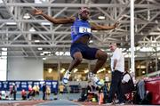 18 January 2020; Nelvin Appiah of Longford A.C., Co. Longford, competing in the Long Jump in the Senior Men's combined events during the Irish Life Health Indoor Combined Events All Ages at Athlone International Arena, AIT in Athlone, Co. Westmeath. Photo by Sam Barnes/Sportsfile