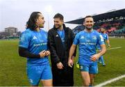 18 January 2020; Leinster players, from left, James Lowe, Ross Byrne and Dave Kearney following the Heineken Champions Cup Pool 1 Round 6 match between Benetton and Leinster at the Stadio Comunale di Monigo in Treviso, Italy. Photo by Ramsey Cardy/Sportsfile