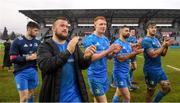18 January 2020; Leinster players, from left, Harry Byrne, Andrew Porter, Ciarán Frawley, Rob Kearney, James Ryan and Caelan Doris following the Heineken Champions Cup Pool 1 Round 6 match between Benetton and Leinster at the Stadio Comunale di Monigo in Treviso, Italy. Photo by Ramsey Cardy/Sportsfile