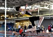 18 January 2020; Louis Raggett of Kilkenny City Harriers A.C., Co. Kilkenny, competing in the High Jump in the U14 Men's combined events during the Irish Life Health Indoor Combined Events All Ages at Athlone International Arena, AIT in Athlone, Co. Westmeath. Photo by Sam Barnes/Sportsfile