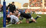 18 January 2020; Will Addison of Ulster is tackled short of the line by Tom Homer and Gabe Hamer-Webb of Bath during the Heineken Champions Cup Pool 3 Round 6 match between Ulster and Bath at Kingspan Stadium in Belfast. Photo by Oliver McVeigh/Sportsfile